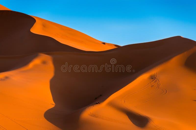 Wysoka diuna erg Chebbi, Maroko zdjęcia royalty free