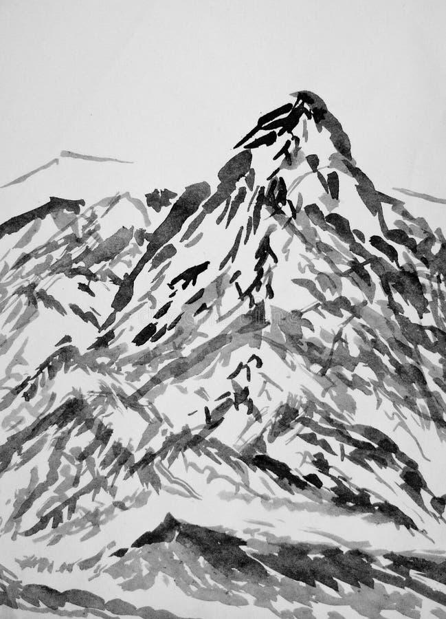 Wysoka góra krajobraz chiński obraz ilustracja wektor