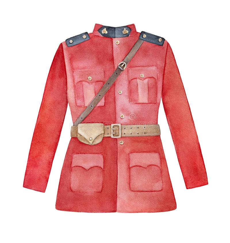 Wysoka kołnierzasta szkarłatna tunika z brązu Sam Browne paskiem, rzemienna kieszonka dla nieść kajdanki, złociści guziki, czarne ilustracja wektor
