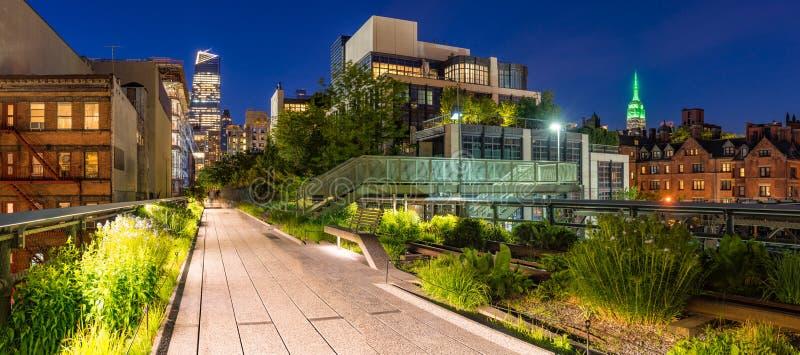 Wysoka linia przy zmierzchem, panoramiczny widok chelsea Manhattan, nowy jork miasto obrazy stock