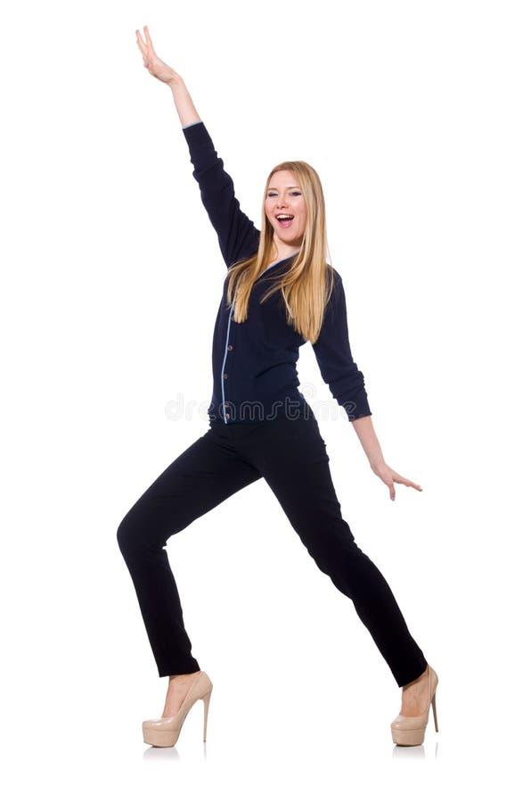 Wysoka młoda kobieta w czarnej odzieży odizolowywającej dalej obraz stock