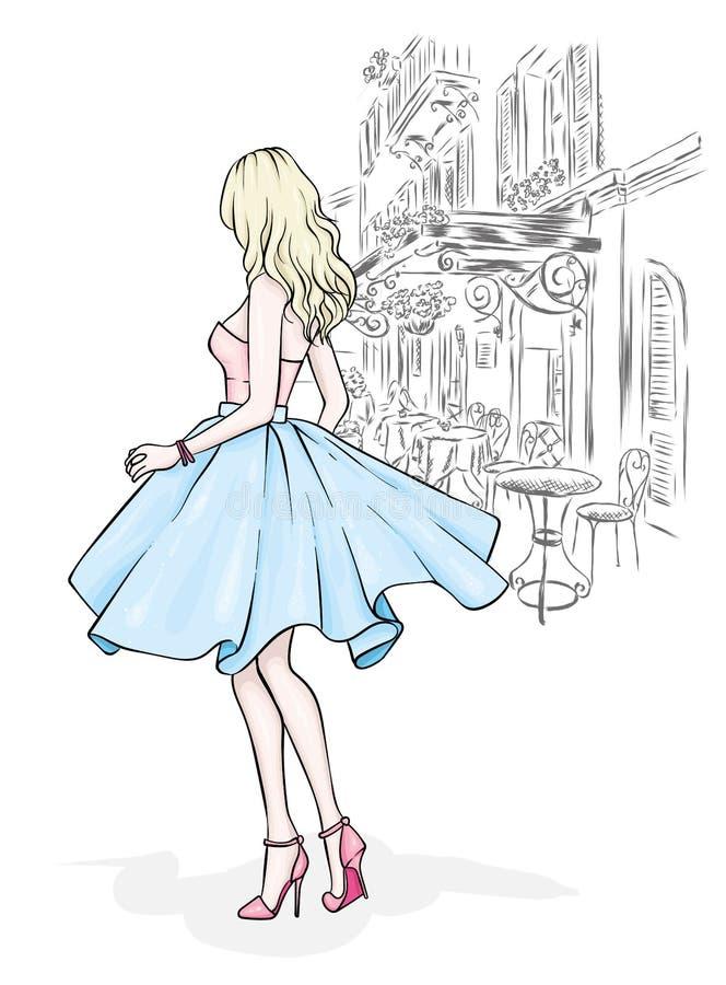 Wysoka, nikła dziewczyna w pięknej wieczór sukni, Moda & styl również zwrócić corel ilustracji wektora ilustracja wektor