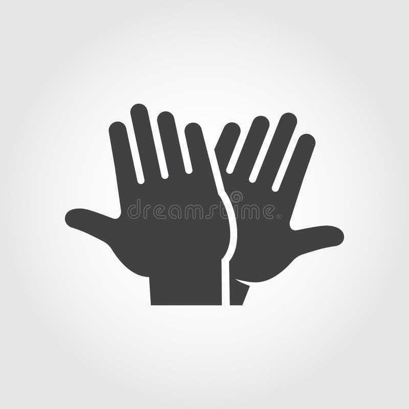 Wysoka pięć ikona Czarny płaski piktograf klaskać ręki - powitanie, witający, świętujący symbol pomyślni ludzie ilustracja wektor