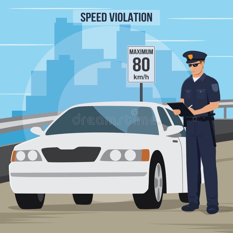 Wysoka prędkość ruchu drogowego naruszenia ilustracja royalty ilustracja