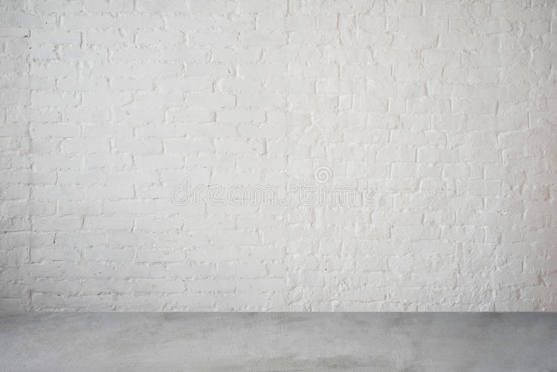 Wysoka rozdzielczość biały ściana z cegieł i podłoga fotografia stock