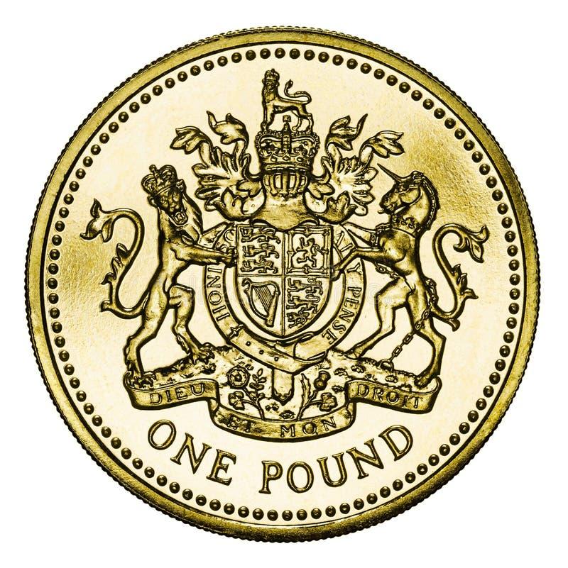 Nowa Brytyjska Złocista Funtowa moneta z ścinek ścieżką fotografia stock