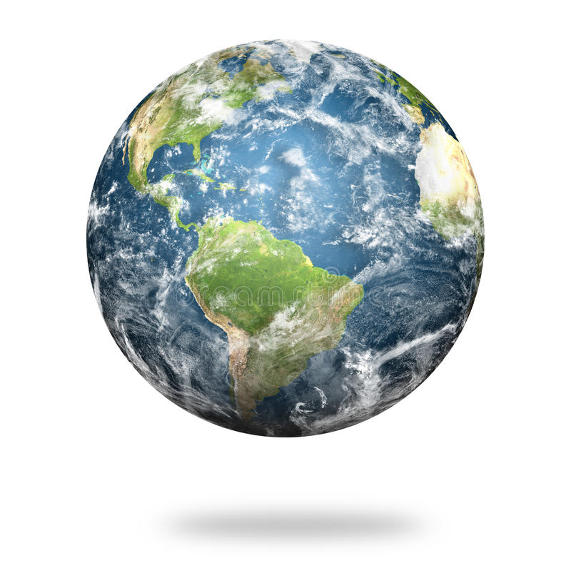 Wysoka rozdzielczość planety ziemia na białym tle ilustracji