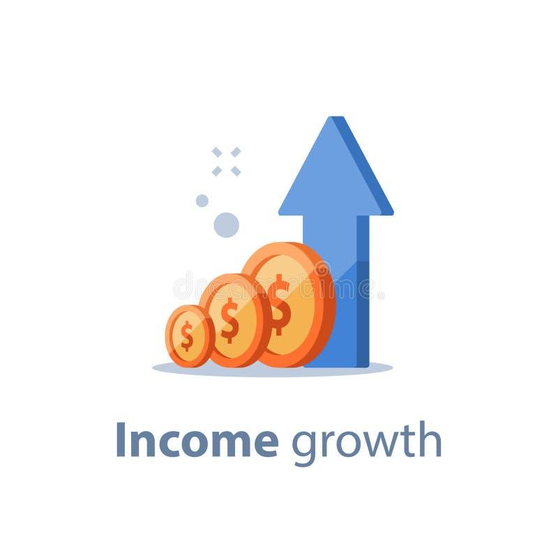 Wysoka stopa procentowa, długoterminowy inwestuje strategię, dochodu przyrost, podnosi biznesowego dochód, funduszu dźwiganie, em royalty ilustracja