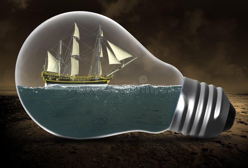Wysoki żeglowanie statek, Surrealistyczna żarówka, woda zdjęcie stock
