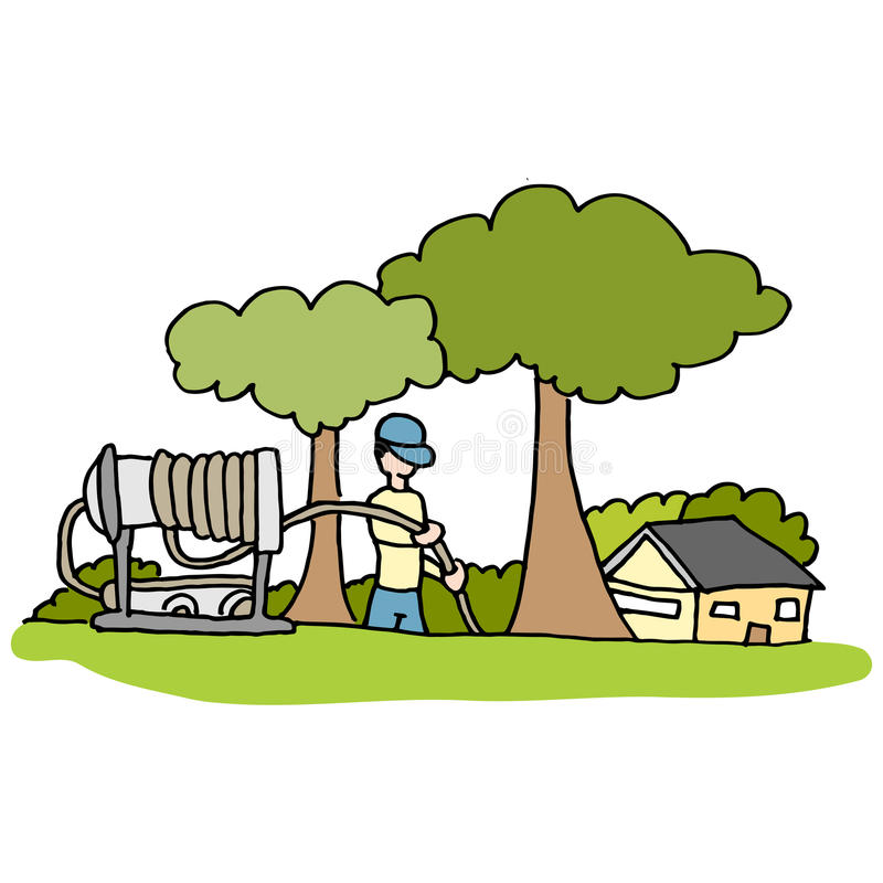 Wysoki ciśnieniowy węża elastycznego hydraulik pracuje w frontowym jardzie dom ilustracji