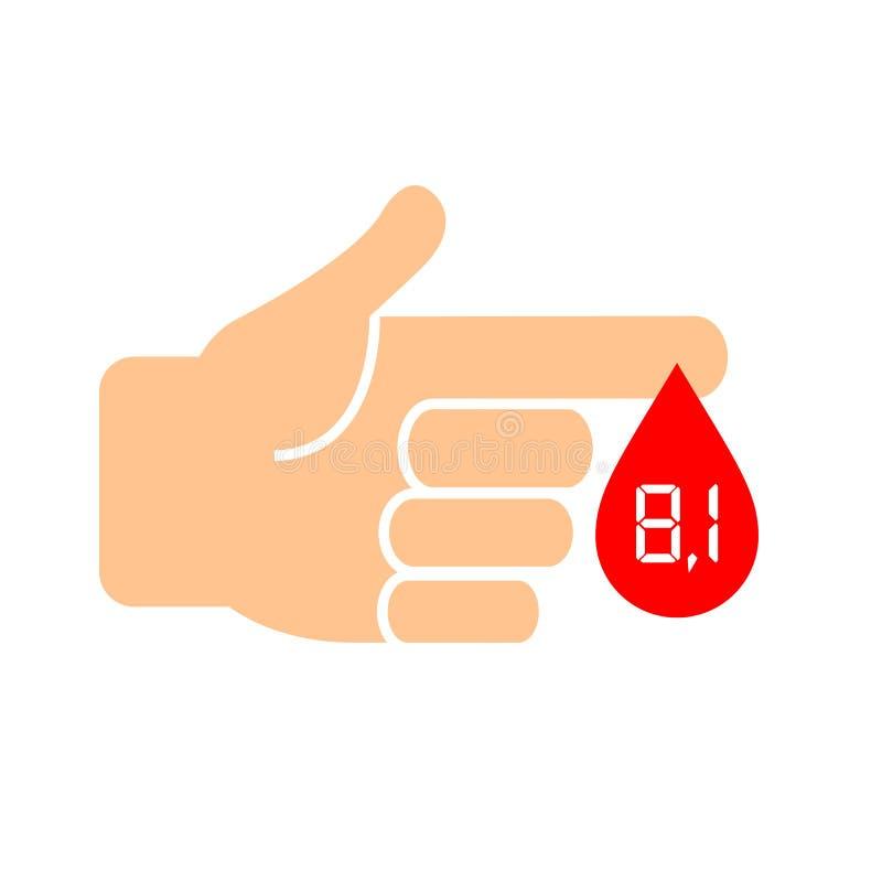 Wysoki cukier w krwi, cukrzycy ikona ilustracji