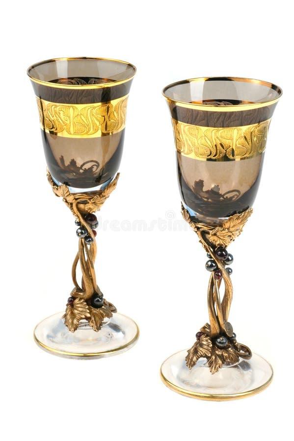 wysoki czara wino dwa obraz stock
