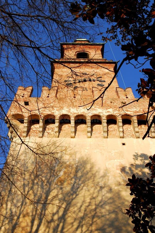Wysoki dzwonkowy wierza w Vigevano w prowinci Pavia w Lombardy (Włochy) zdjęcia stock