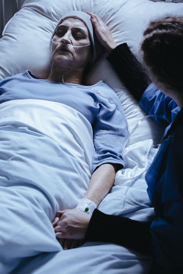 Wysoki kąt opiekun podporowa chora starsza kobieta w hosp zdjęcia royalty free