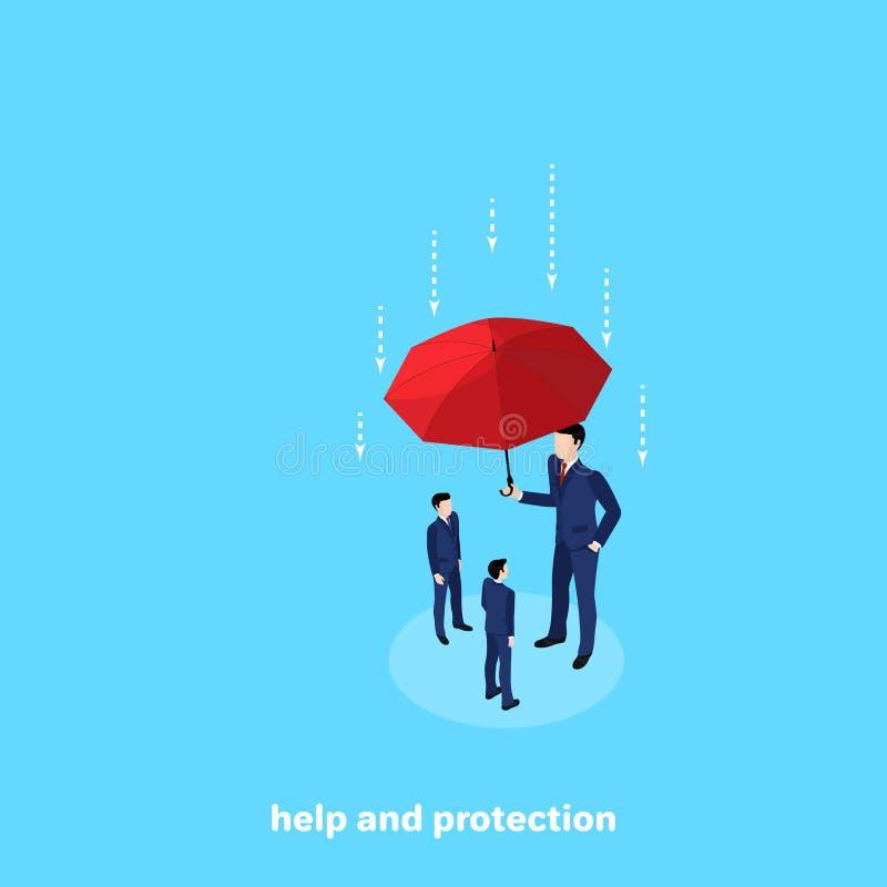 Wysoki mężczyzna w garniturze trzyma parasol nad innymi ludźmi ochrania one ilustracja wektor