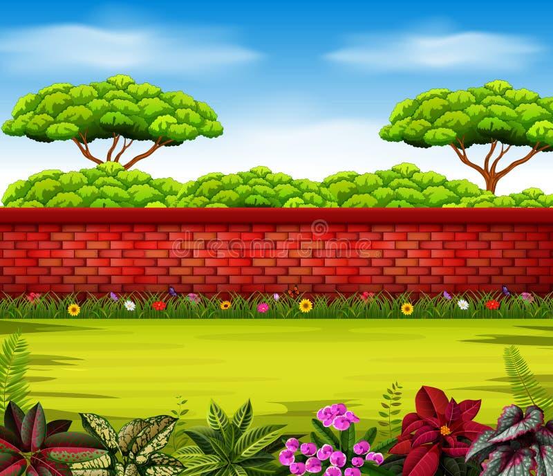 Wysoki mur z wysokimi drzewami i niektóre kwitnie ilustracji