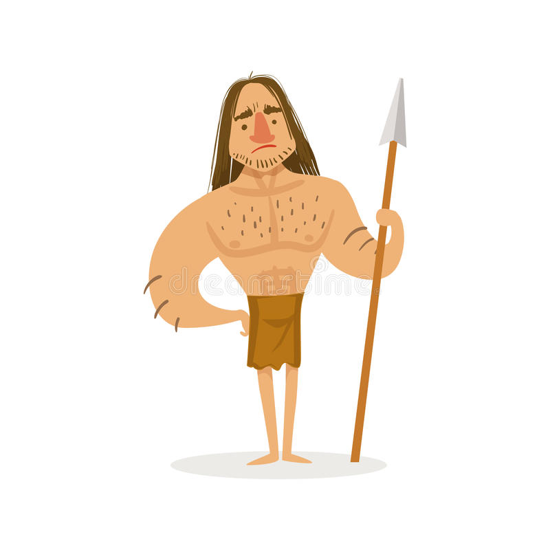 Wysoki Muscly wojownik Z Oszczepową Jest ubranym Loincloth kreskówki ilustracją Pierwszy Homo Sapiens troglodyta W zwierzęciu Obr royalty ilustracja