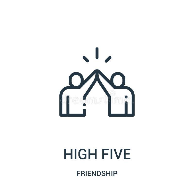 wysoki pięć ikon wektor od przyjaźni kolekcji Cienka kreskowa wysokość pięć zarysowywa ikona wektoru ilustrację Liniowy symbol dl ilustracja wektor