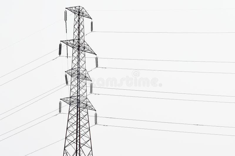 Wysoki pilon dla przekazu elektryczności władzy energetyczny używa kabel wykłada obrazy royalty free