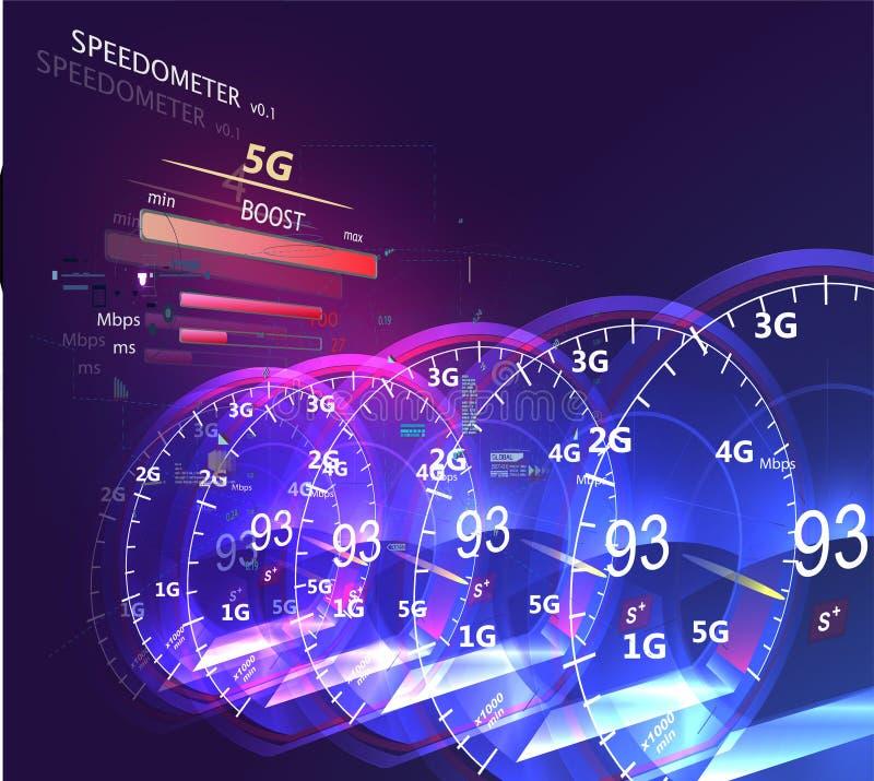 Wysoki prędkości wiszącej ozdoby internet Futurystyczny internet royalty ilustracja