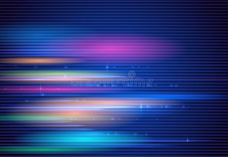 Wysoki prędkość ruch i ruch plama nad zmrokiem - błękitny tło Futurystyczny, cześć techniki technologii pojęcie ilustracji