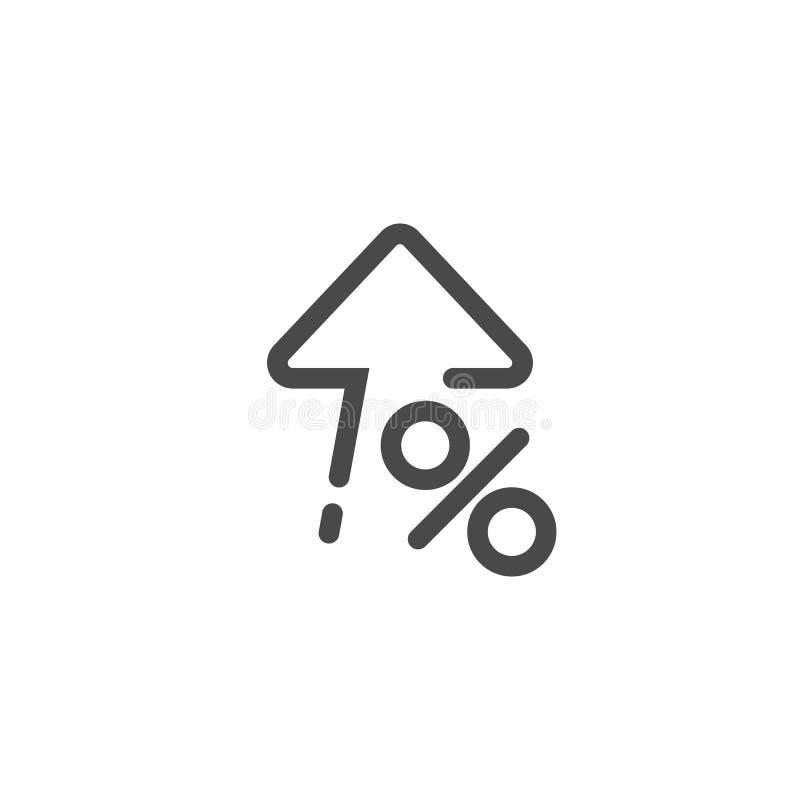 Wysoki procentu interesu procent w górę ikony w liniowym stylu wektor royalty ilustracja