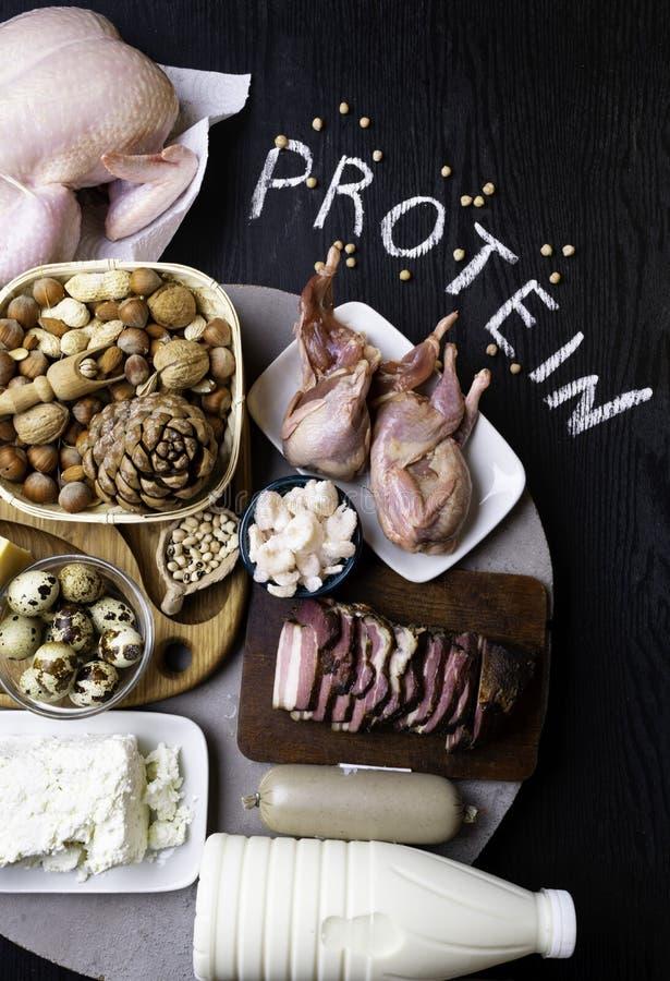 Wysoki - proteinowi foods Odgórnego widoku łasowania Zdrowy pojęcie zdjęcia stock