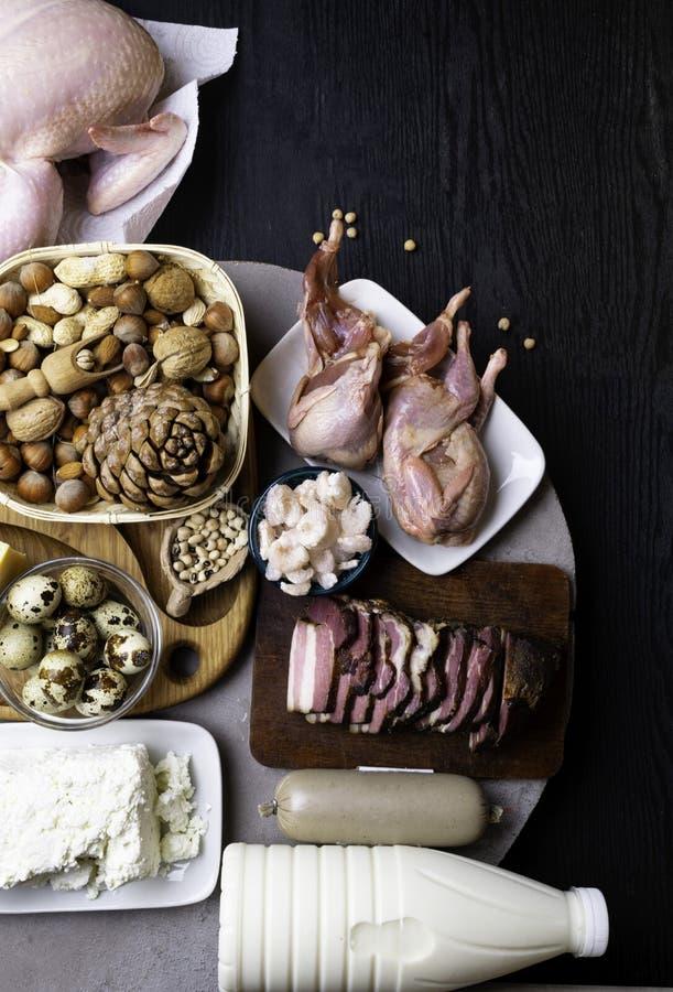 Wysoki - proteinowi foods Odgórnego widoku łasowania Zdrowy pojęcie obraz royalty free