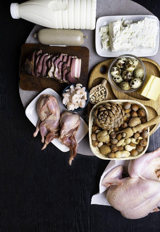Wysoki - proteinowi foods Odgórnego widoku łasowania Zdrowy pojęcie obraz stock