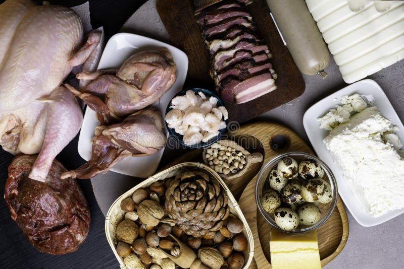 Wysoki - proteinowi foods Odgórnego widoku łasowania Zdrowy pojęcie zdjęcie royalty free