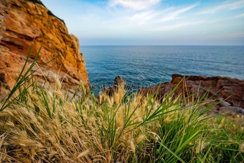 Wysoki skalisty wybrzeże i denne fale morze śródziemnomorskie zdjęcia stock