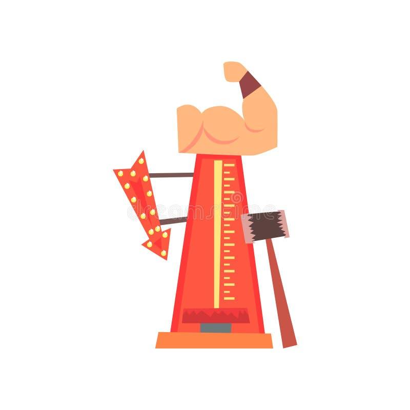Wysoki strajkowicza przyciąganie z dużym młotem, strzała z światłami i mięśniową ręką, Siła tester lub siłacz gra royalty ilustracja