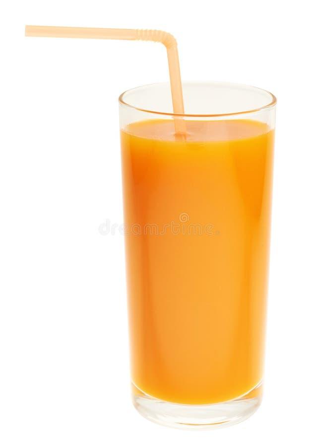 Wysoki szklany pełny pomarańczowy marchwiany sok fotografia royalty free