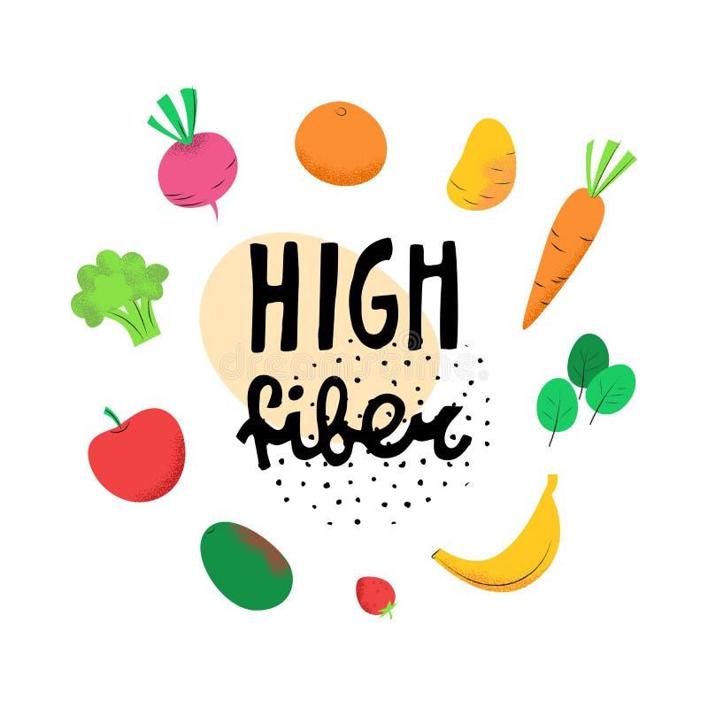 Wysoki włókno sztandar z warzywami i owoc ilustracja wektor