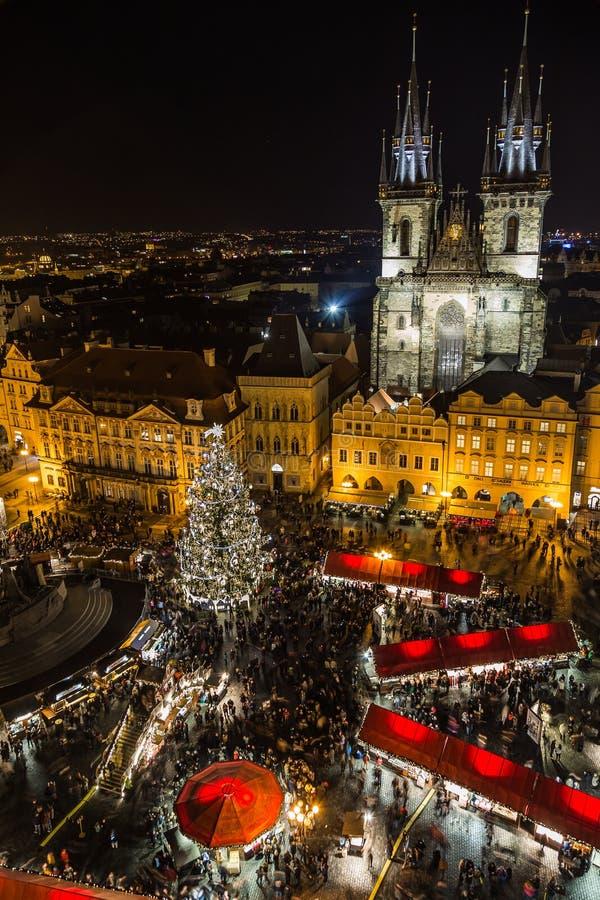 Wysoki widok Praga bożych narodzeń rynek zdjęcia stock