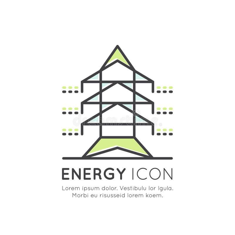 Wysoki woltaż linii energetycznej przekazu wierza lub pilon, energooszczędny światło, związek, przemysły royalty ilustracja