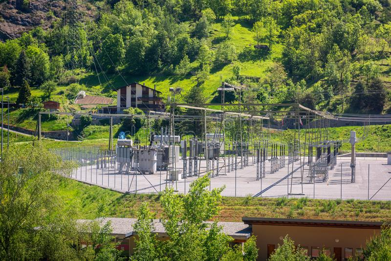 Wysoki woltaż zmiany jard, struktura podstacja, Elektryczna dystrybucja, i, władza zdjęcie royalty free