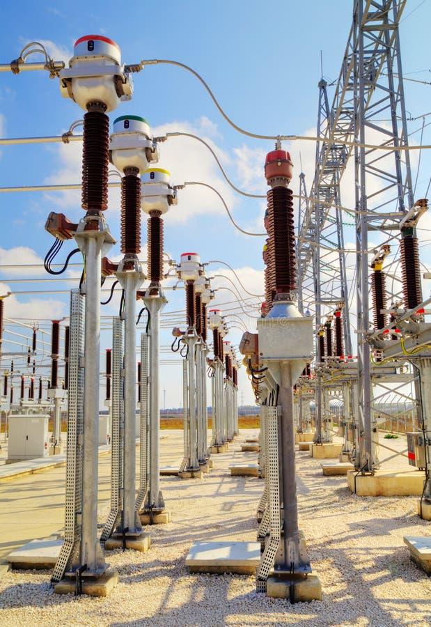 Wysoki woltażu switchyard zdjęcie stock