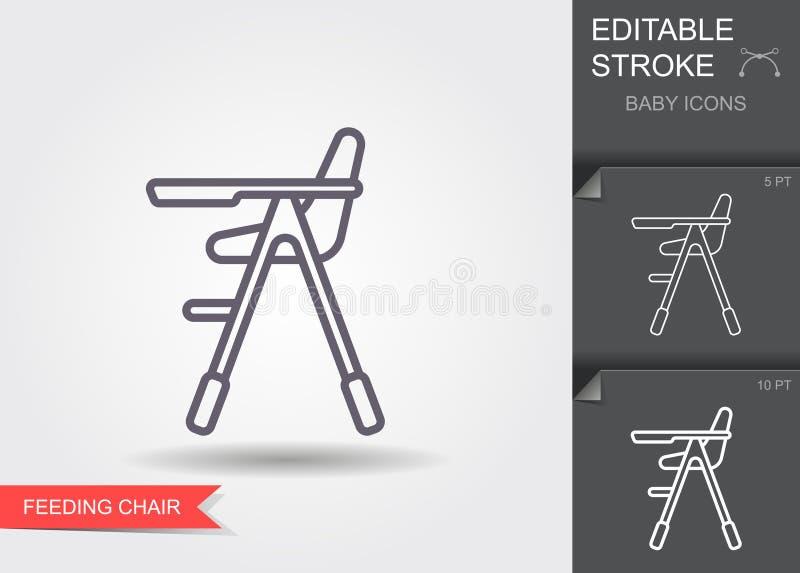 Wysokie krzesło do karmienia dziecka Ikona linii z edytowalnym obrysem z cieniem ilustracja wektor