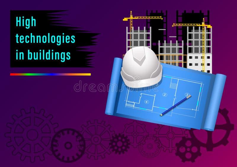 Wysokie technologie w budynkach ilustracja wektor