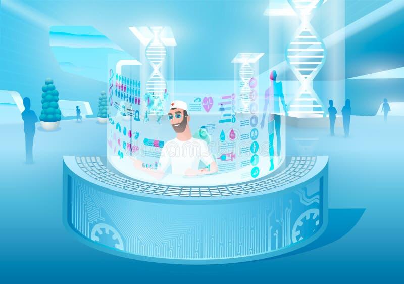 Wysokie technologie w opieka zdrowotna wektoru pojęciu ilustracja wektor