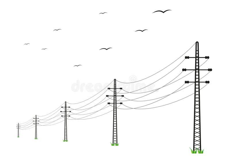 Wysokie woltaż linie energetyczne ilustracja wektor