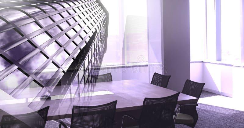Wysokiego budynku i biura pokoju konferencyjnego przemiana royalty ilustracja
