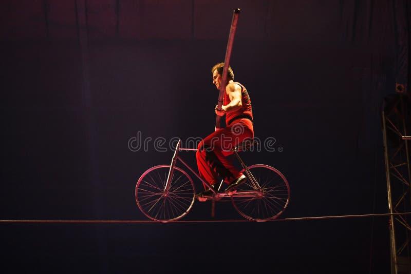 Wysokiego drutu cyrkowy akt z rowerem zdjęcia royalty free