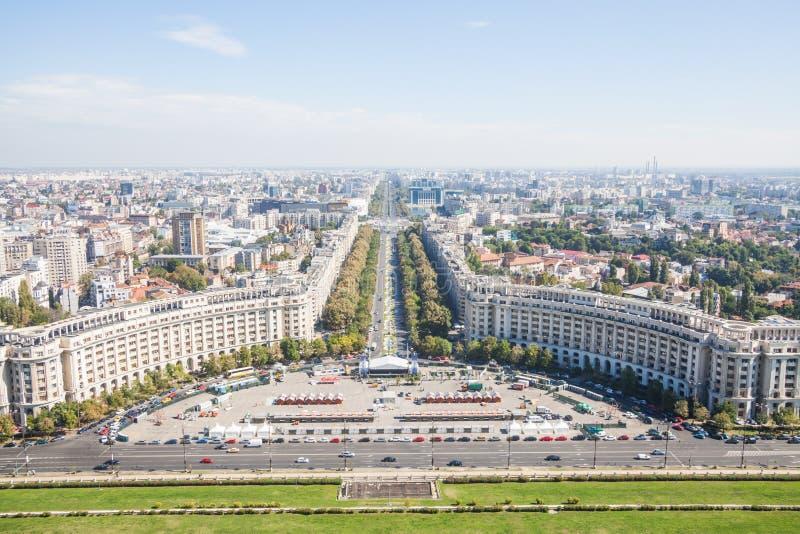Wysokiego kąta widok Bucharest zdjęcie royalty free
