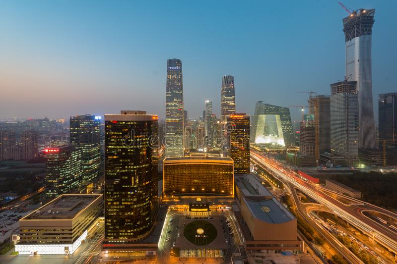 Wysokiego kąta widok Pekin dzielnicy biznesu Środkowy drapacz chmur zdjęcie royalty free