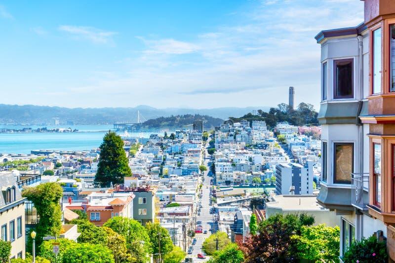 Wysokiego kąta widok San Fransisco linia horyzontu obraz stock