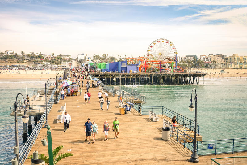 Wysokiego kąta widok Snata Monica molo blisko Los Angeles Kalifornia zdjęcie royalty free