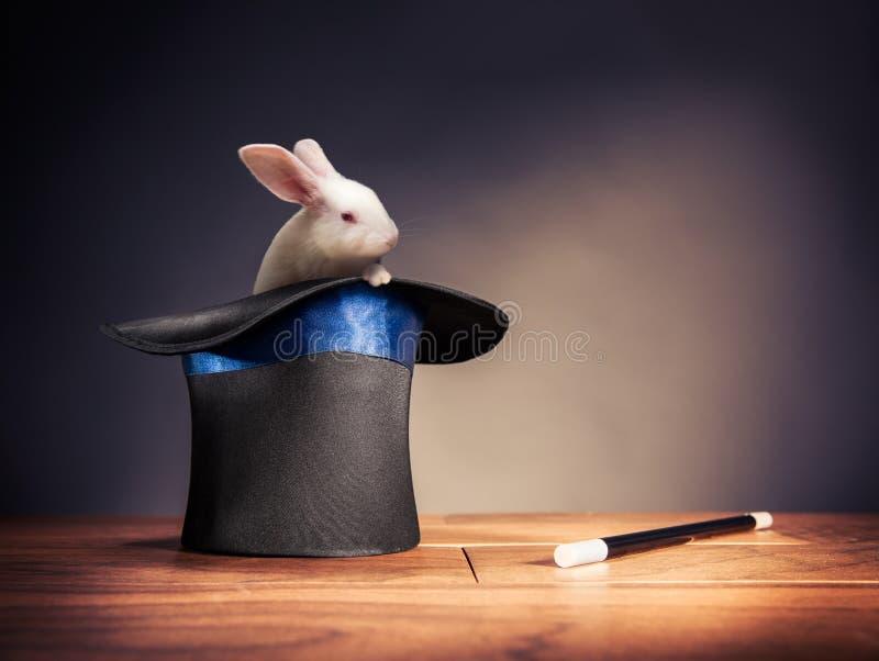 Wysokiego kontrasta wizerunek magika kapelusz na scenie obrazy stock