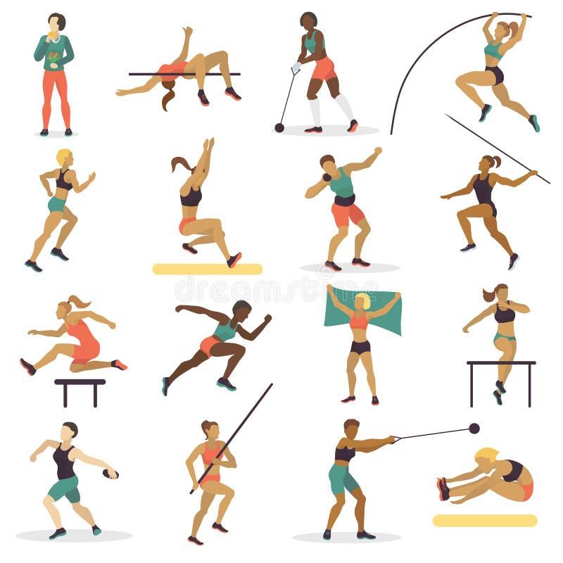 Wysokiego skoku atlety sporta kobiety atletyka charakterów sylwetka robi różnej szlakowej wektorowej ilustraci ilustracji